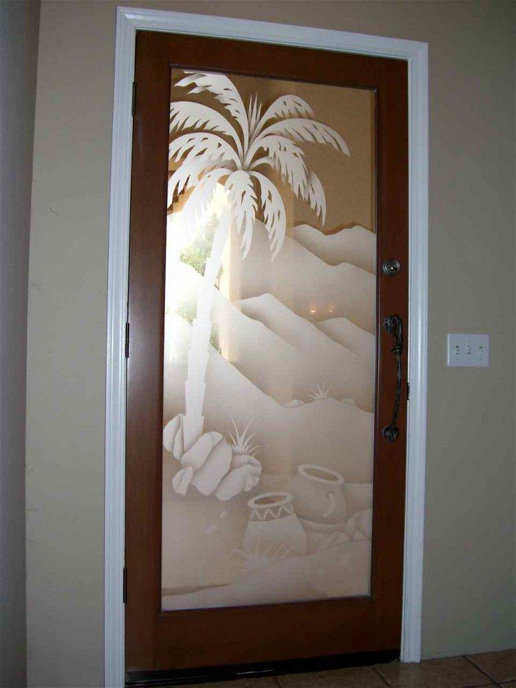 Decorative Floral Glass Shower Door Interior Glass Doors Etched Glass Desert Decor Desert Palm Trees