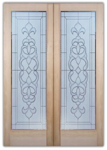 Faux Bevels 2D Etched Glass Doors Victorian Style