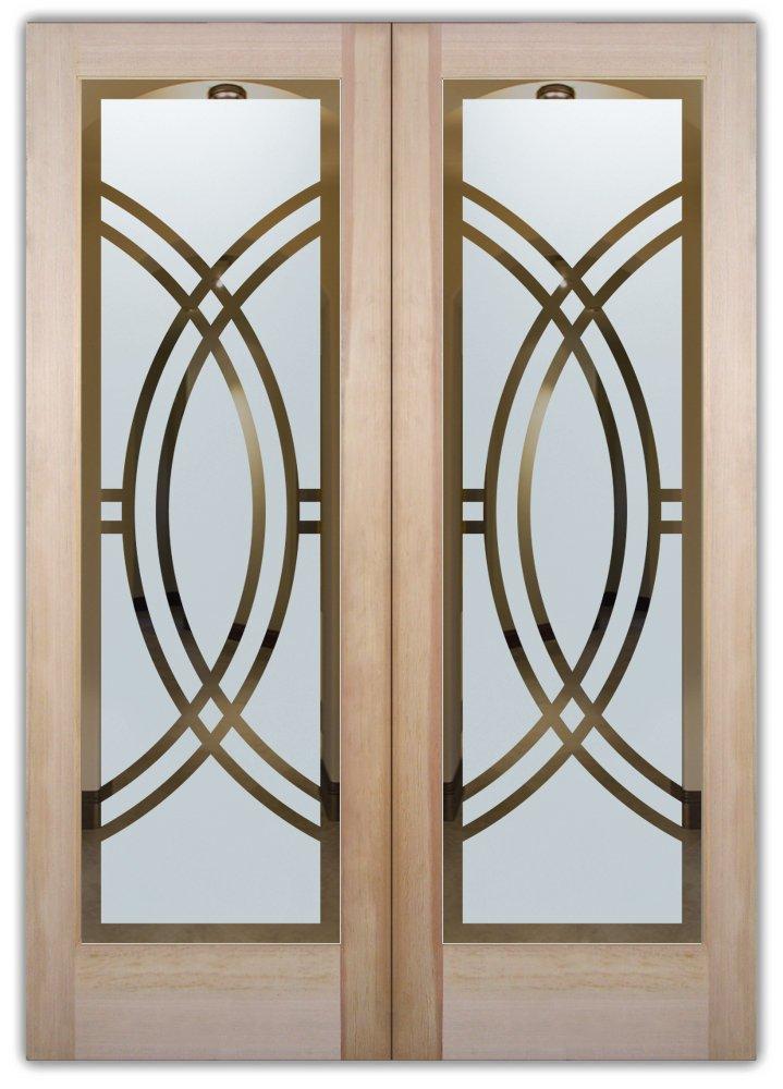Double Entry Doors Etched Glass Linear Design Art Deco Design Sans