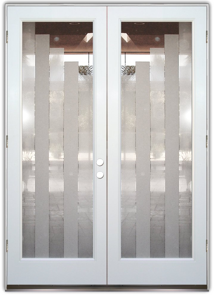 Towers Stepped 2d Etched Glass Doors Modern Style