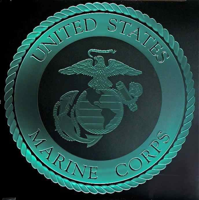 etched carved glass marine corps seal sans soucie art glass
