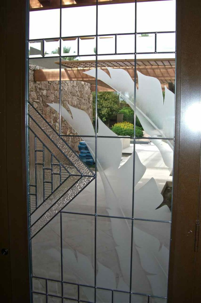 Beveled Glass Windows : A stunning combination etched and beveled glass sans