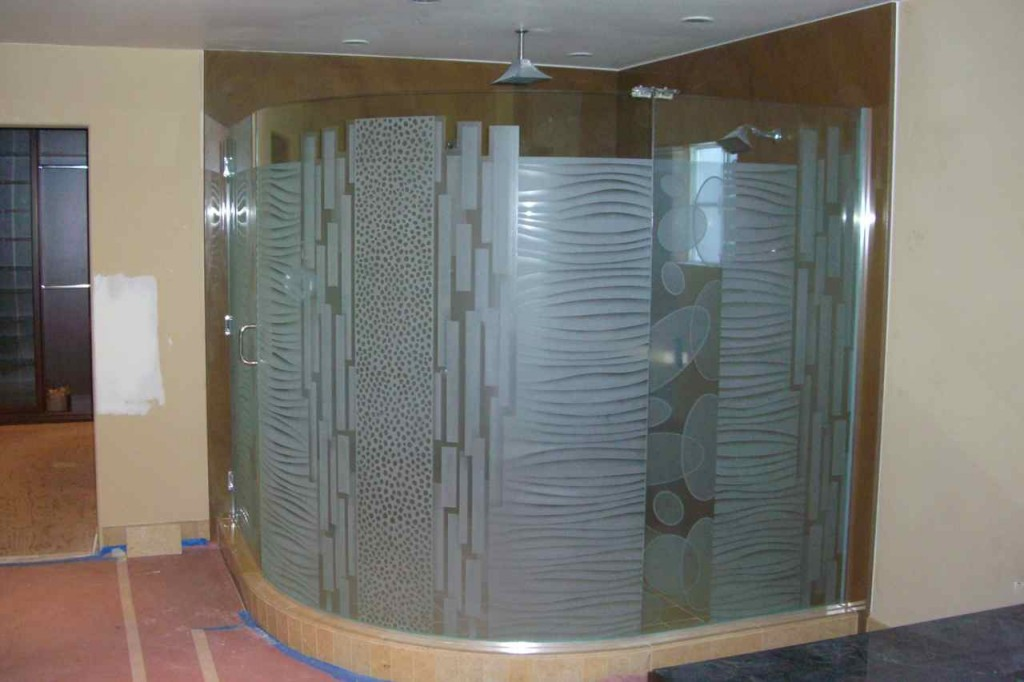 Etched Carved Gl Shower Enclosure Geometric Pattern
