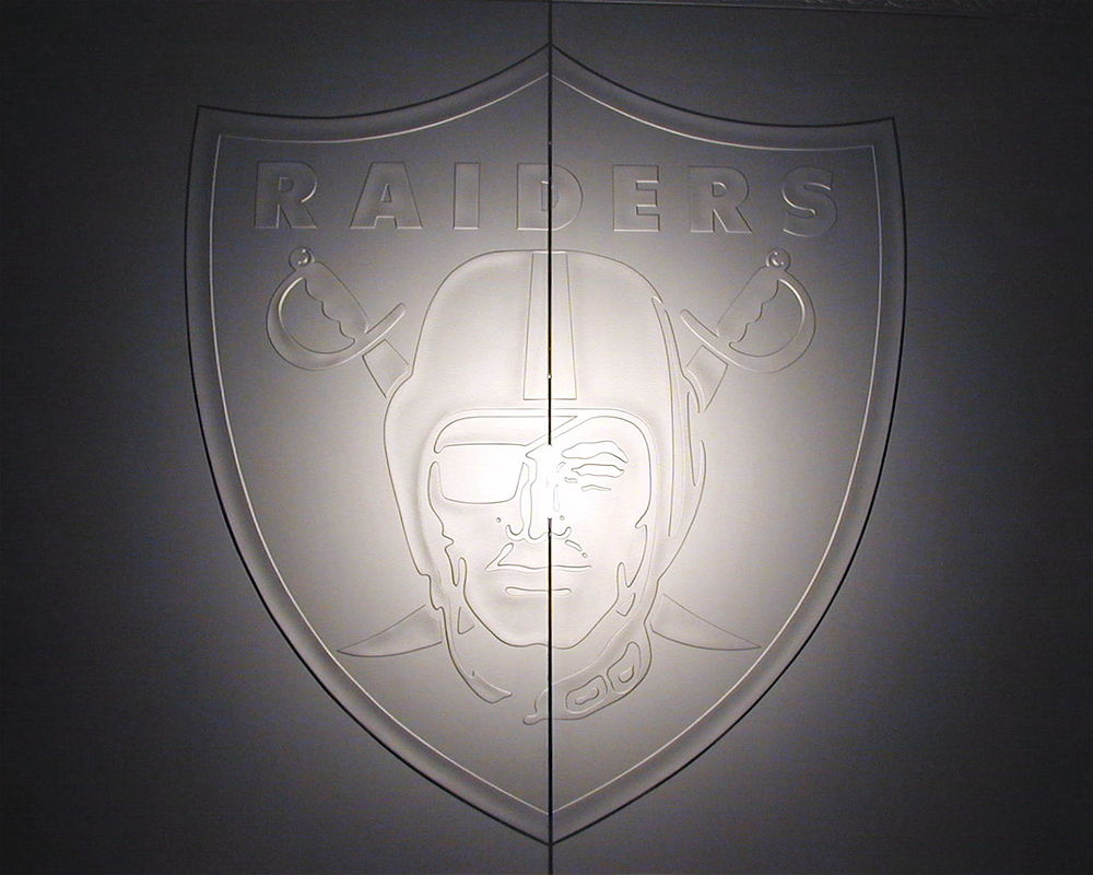 Etched glass, carved glass Raiders logo on Glass Doors