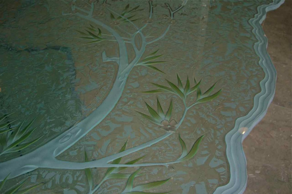 etched glass table sans soucie art glass