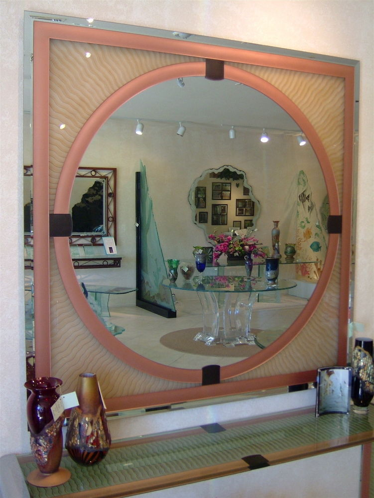 Art Deco Mirror Hand Etched Carved And Painted