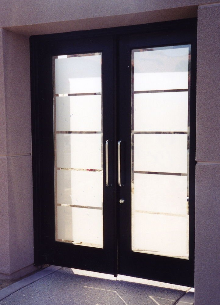 Contemporary glass designs by etched carved sans soucie Modern white front door