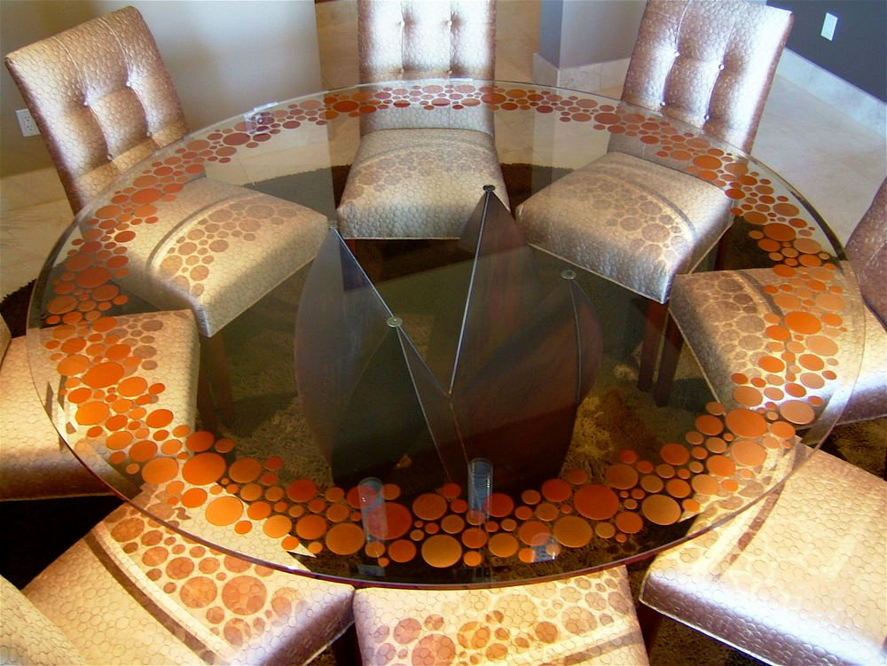 Glass Dining Table, Carved Painted Orange Bubbles Around The Border