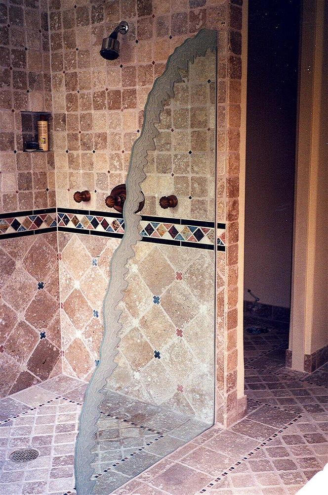Decorative Bathroom Doors : Frosted glass shower panel sans soucie art