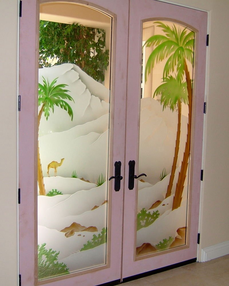 Frosted glass doors tree designs sans soucie art glass for Decorative entrance doors