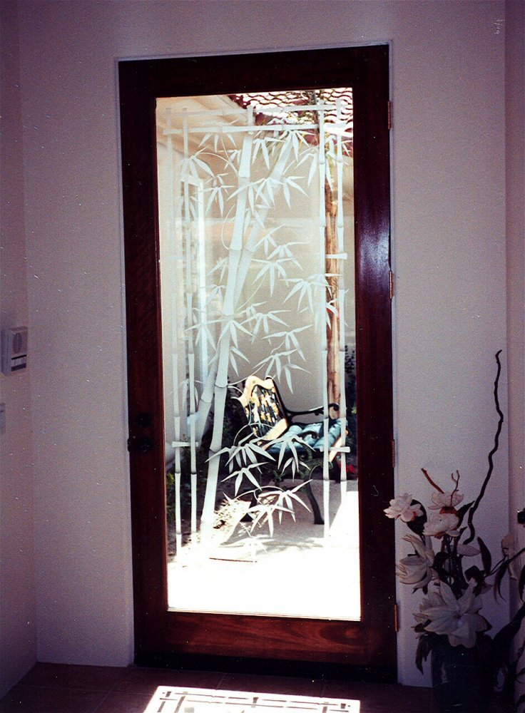 Frosted glass bamboo sans soucie art glass for Etched glass entry doors