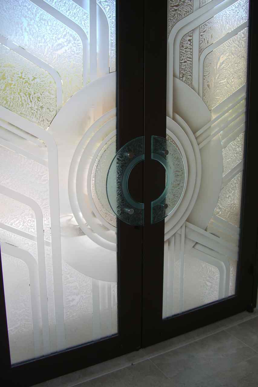 Etched Glass Doors With Glass Door Pulls By Sans Soucie Sans