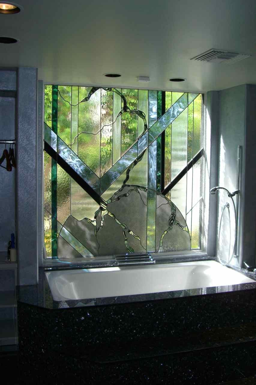 Stained glass bathroom window sans soucie art glass for Stained glass bathroom window designs