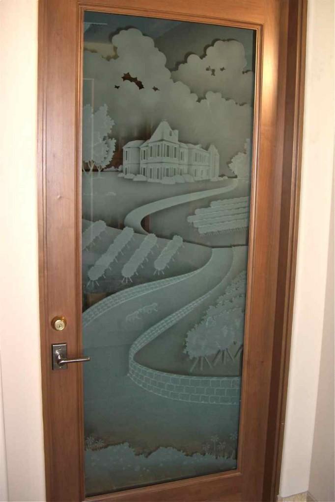 Etched glass wine room door sans soucie art glass for Room door design with glass