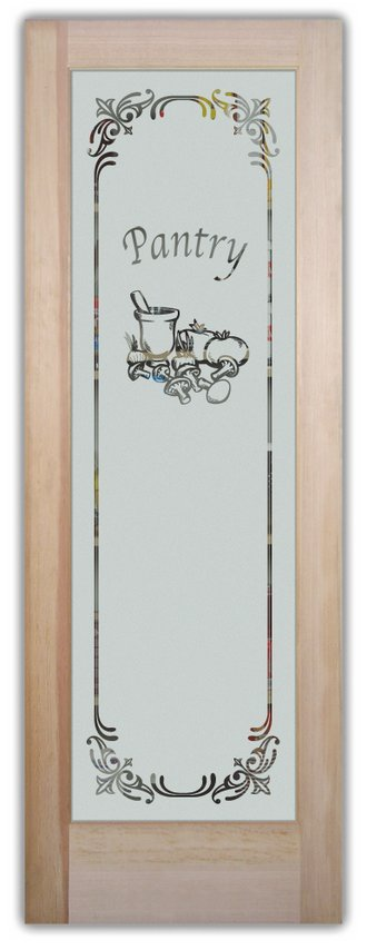 Frosted Etched Glass Kitchen Door