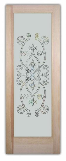Glass Pantry Doors With Etched Glass Wrought Iron Motifs