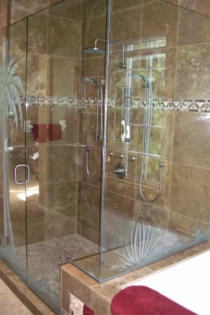 Etched Glass Shower Door Desert Palm Tree Scene Sans