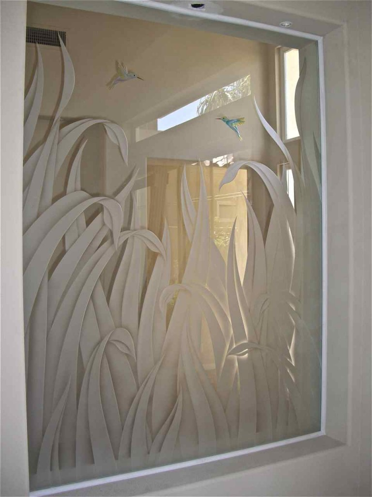 Etched glass shower sans soucie art glass for Glass decorations for windows