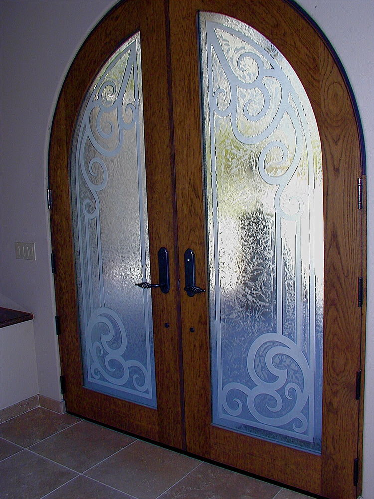 Etched Glass Doors In Wrought Iron Motif Sans Soucie Art Glass