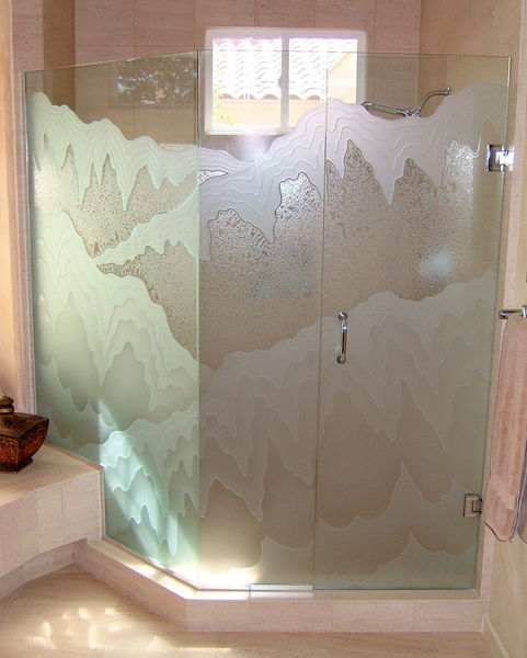 Etched glass shower doors sans soucie art glass for Frosted glass window bathroom