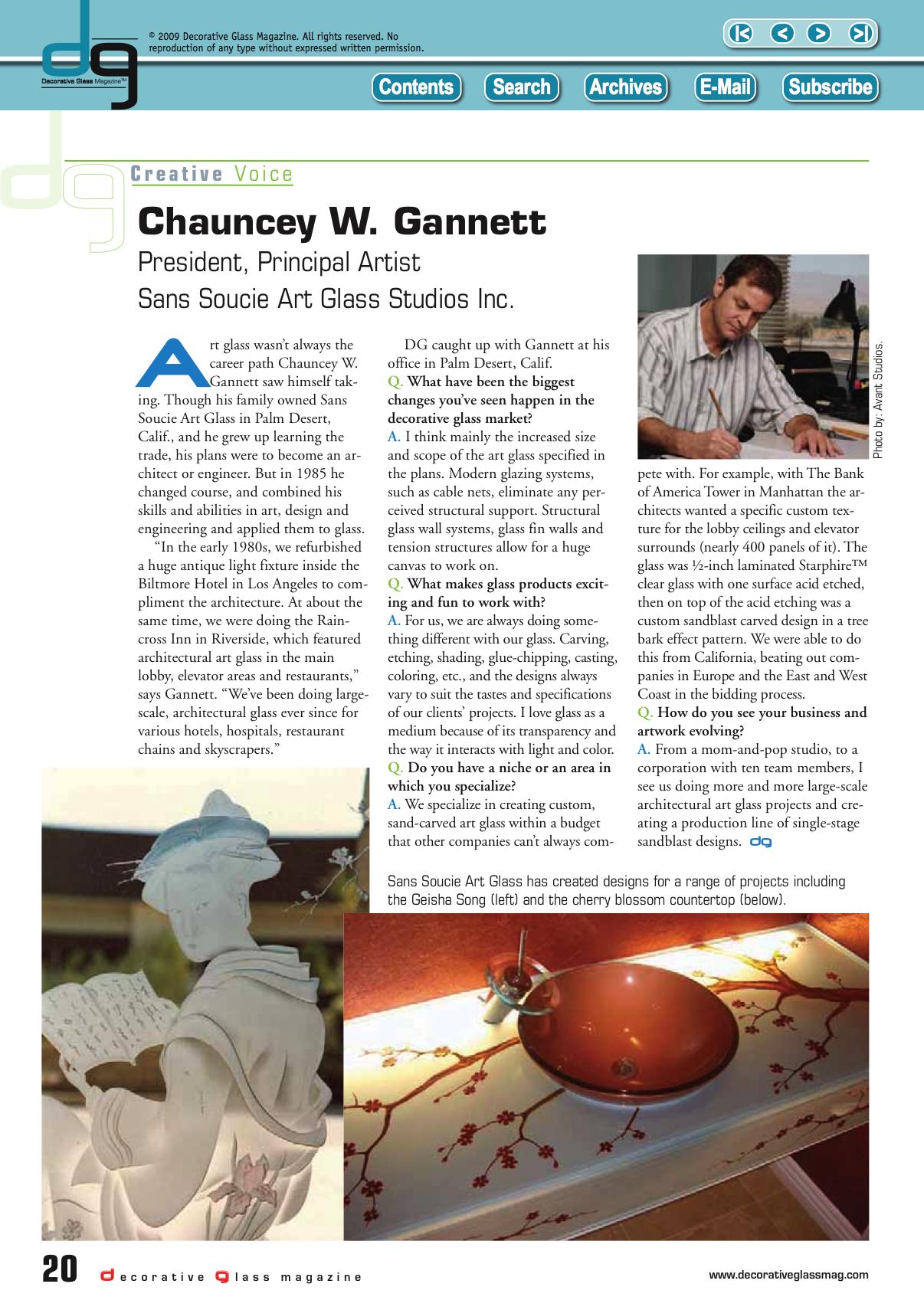 Sans Soucie Art Glass featured in Decorative Glass Magazine Sans