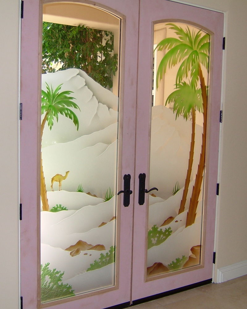 Decorative Floral Glass Shower Door Painted Glass Door Etched Carved Decorative Glass