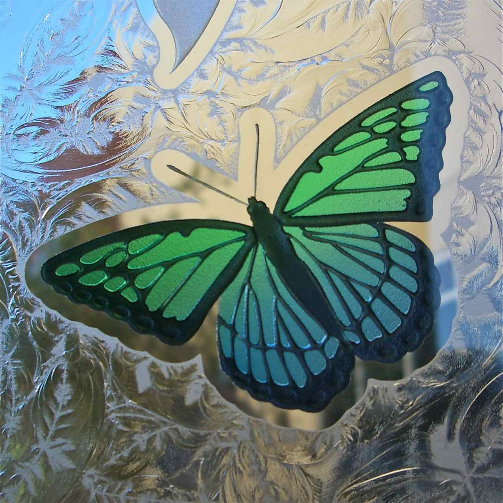 Butterflies Etched Carved Amp Painted In Glass Windows