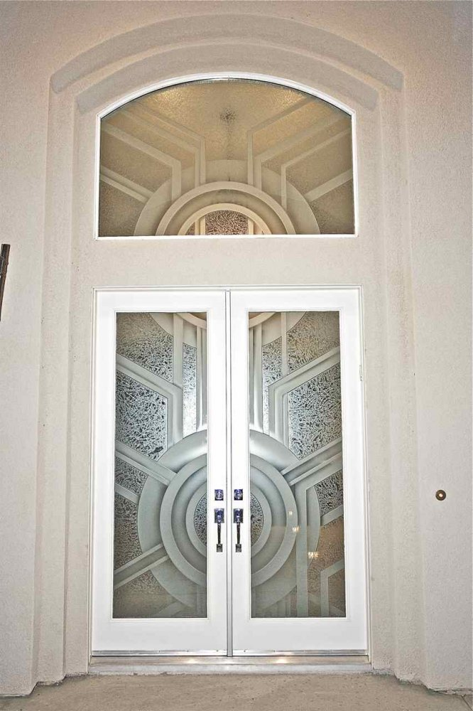 Contemporary Frosted Glass Doors Create Obscurity Thru Art