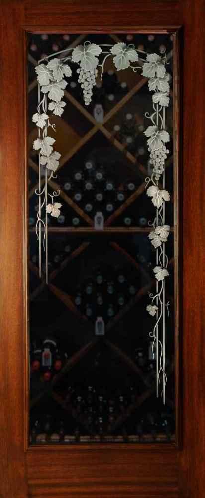 Etched Glass Wine Room Doors Sans Soucie Art Glass