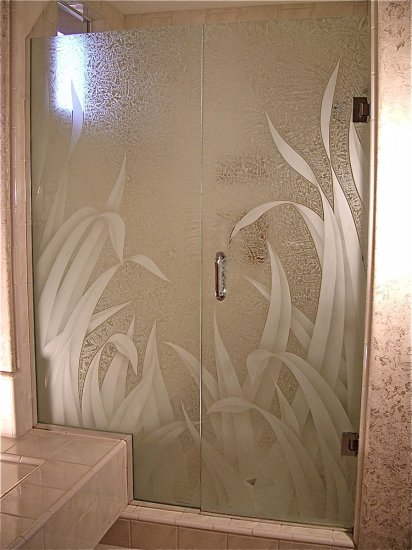 Frosted glass showers sans soucie art glass for Frosted glass window bathroom