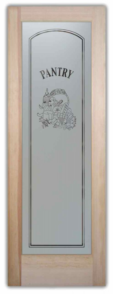 A frosted pantry door adds a stylish element to this gray ...