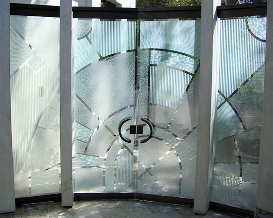 Custom All Glass Entry And Courtyard Doors Sans Soucie Art Glass