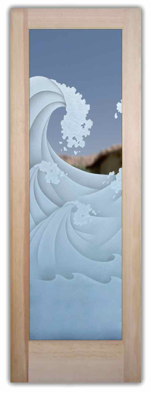Etched Glass Wave Sans Soucie Art Glass