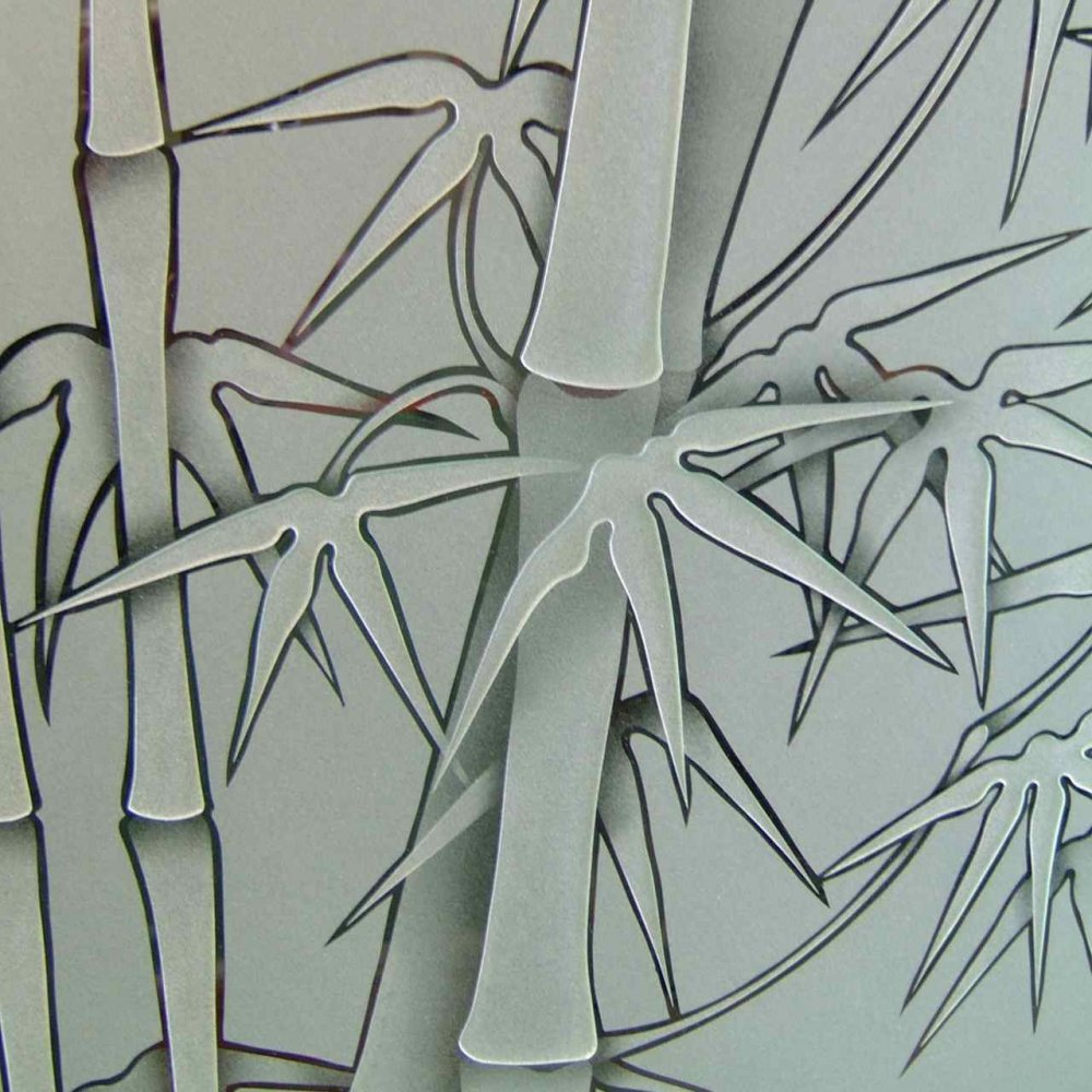 Glass doors etched bamboo designs provide just the right for Frosted glass designs