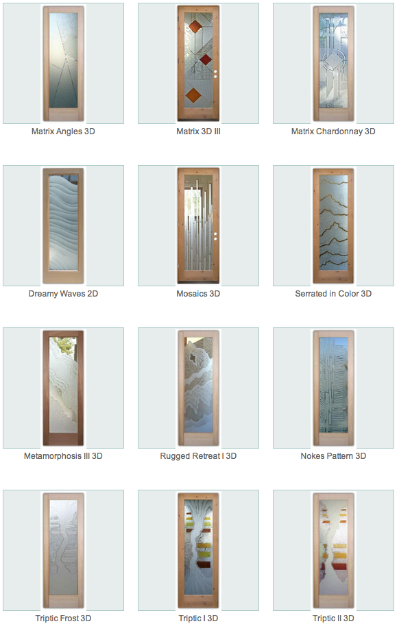 Glass pantry doors with frosted glass - Contemporary Glass Designs Sans Soucie Art Glass