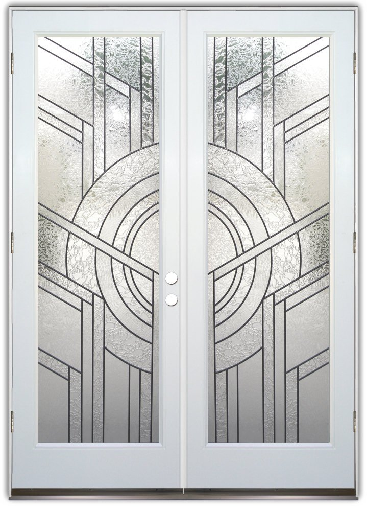 Glass doors same frosted design different effect for Beveled glass doors