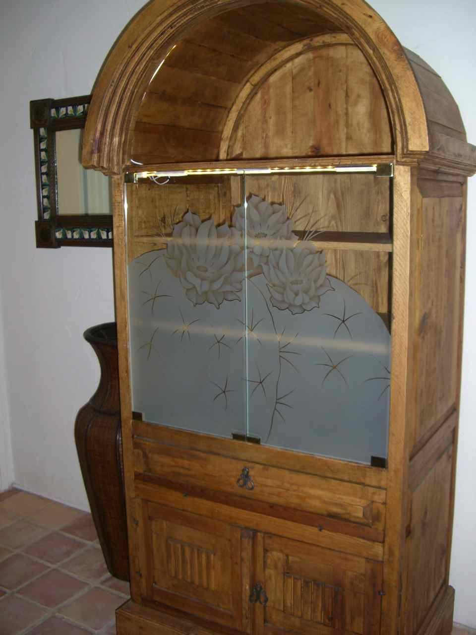 Etched glass doors privacy glass door inserts bamboo pictures to pin - Blooming Barrel Cactus Cabinet Glass