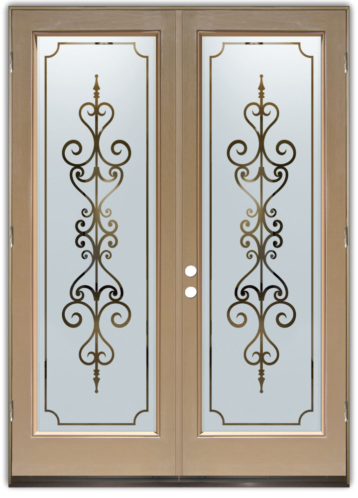 Double entry doors with frosted glass designs sans for Window pane designs