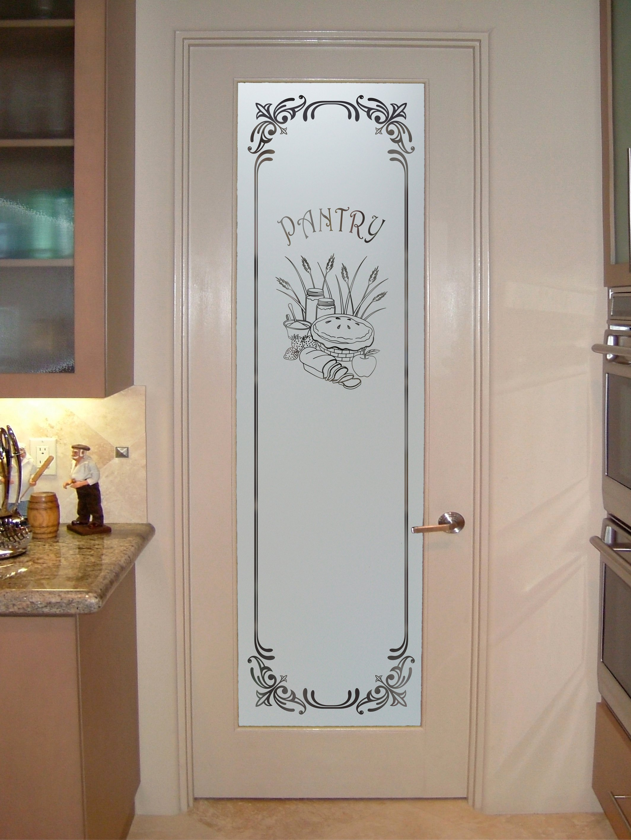 Pantry doors at lowespantry glass sans soucie art glass for Kitchen cabinets lowes with mirror art wall