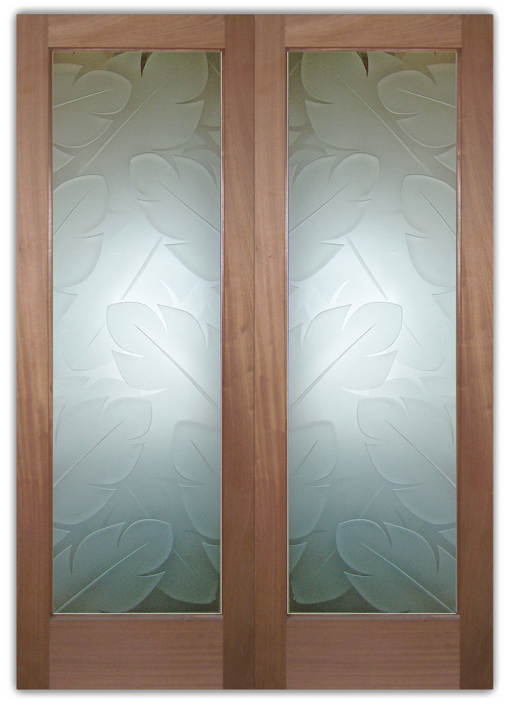 Doors Exterior Glass : Frosted glass doors banana leaves sans soucie art