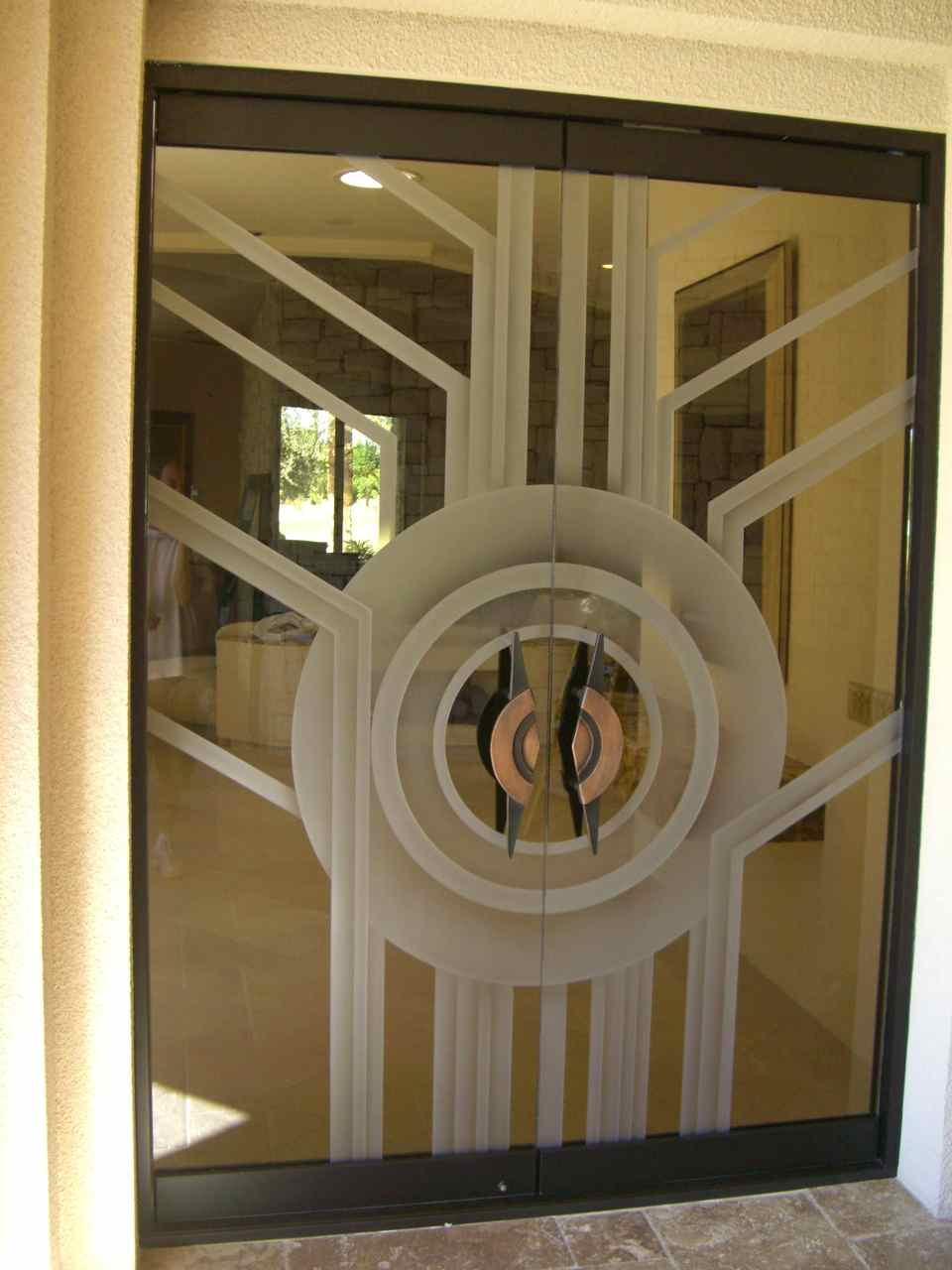 Contemporary all glass doors create a sleek entrance for Exterior double doors with glass