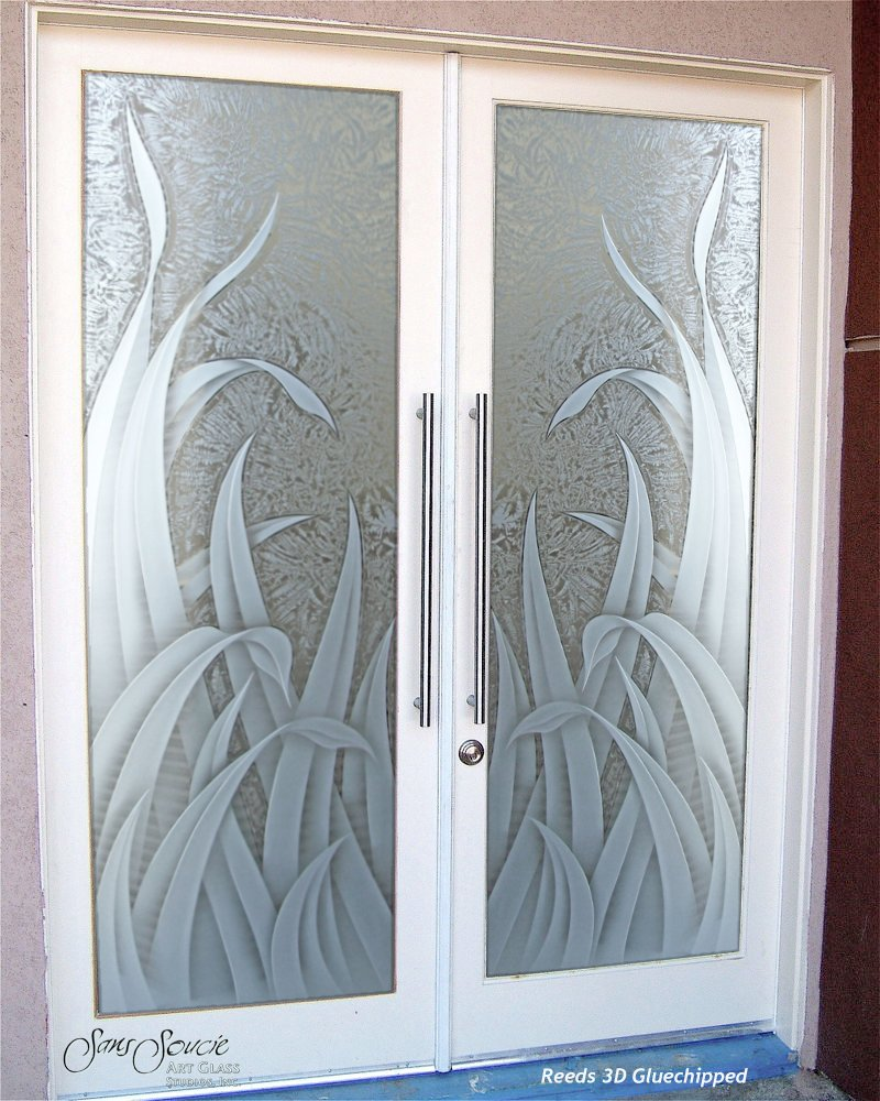 Double entry doors with custom frosted glass sans soucie for Front door glass design