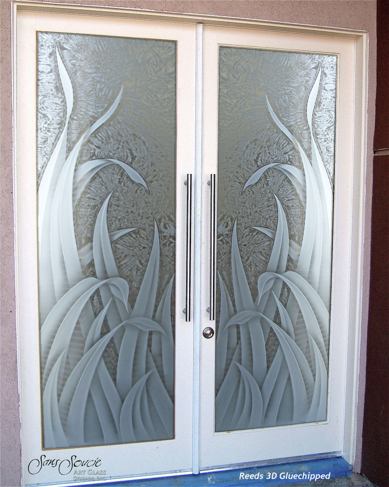 Double entry doors with custom frosted glass sans soucie for Front doors with glass panels