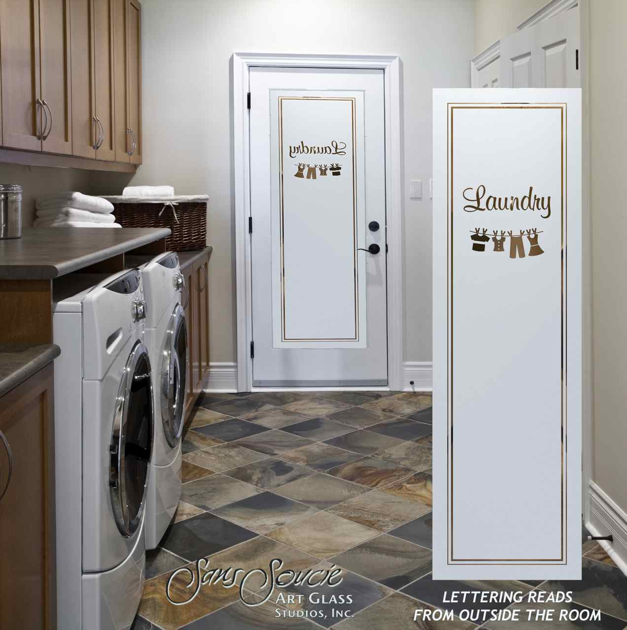 Frosted glass laundry room doors sans soucie art glass for Laundry room door ideas