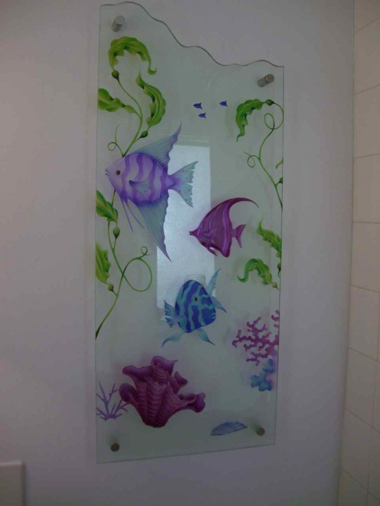 Art Glass Panel Purple Fish