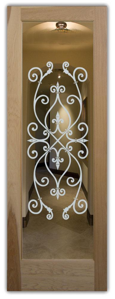 Wrought Iron Etched Glass Sans Soucie Art Glass