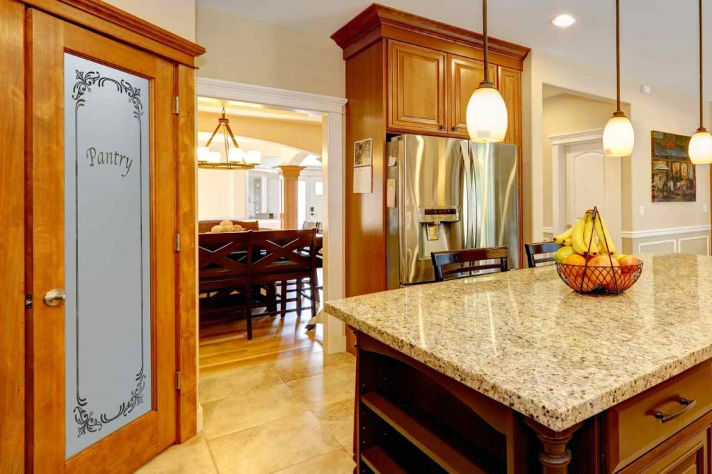 Matching Etched Glass For Kitchen Cabinets And Pantry Doors
