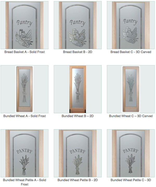 Custom Sandblast Etched Glass Designs That You Mix And Match To Come Up  With The Perfect Pantry Door For Your Kitchen! Choose From Hundreds Of  Quality ...
