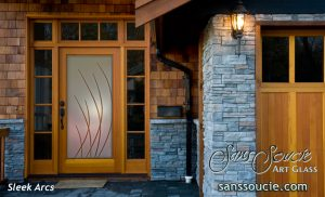 Glass Entry Doors Etched Glass Modern Design Sleek Arcs Contemporary Design
