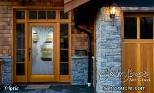 Glass Doors Etched Glass Eclectic Style Rustic Decor Waves